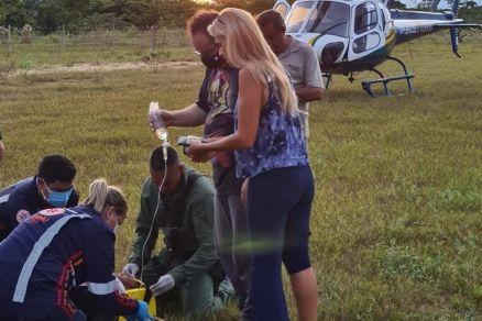Ciopaer resgata homem após acidente no Lago do Manso em Chapada dos Guimarães