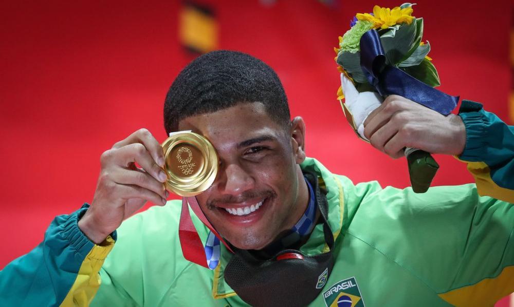 O boxeador Hebert Conceição, ouro olímpico. Foto por: Wander Roberto/COB